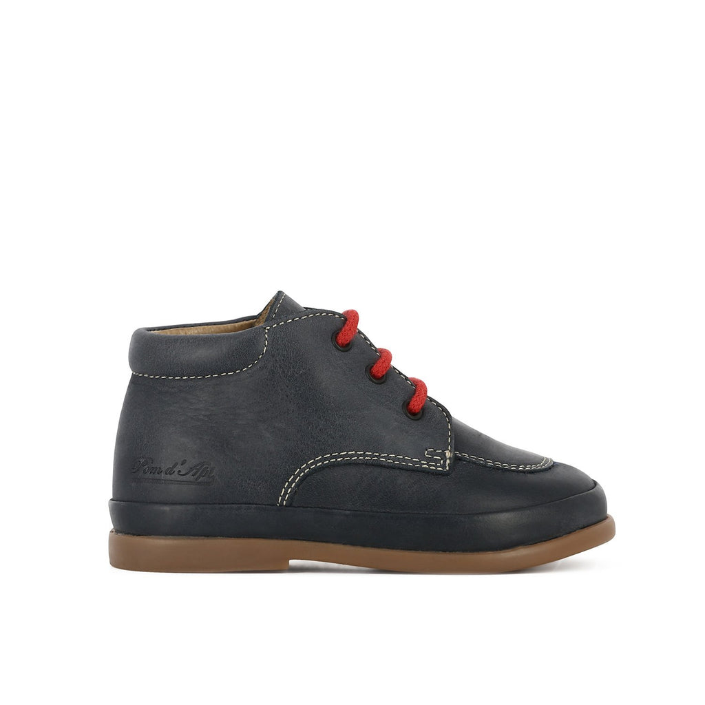 Navy Lace Up Derby Shoe - Pom D'Api - LAZY FRANCIS - Shop in store at 406 Kings Road, Chelsea, London or shop online at www.lazyfrancis.com