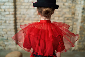 Marie Antoinette Tulle Pelerine in Red - LAZY FRANCIS - Shop in store at 406 Kings Road, Chelsea, London or shop online at www.lazyfrancis.com