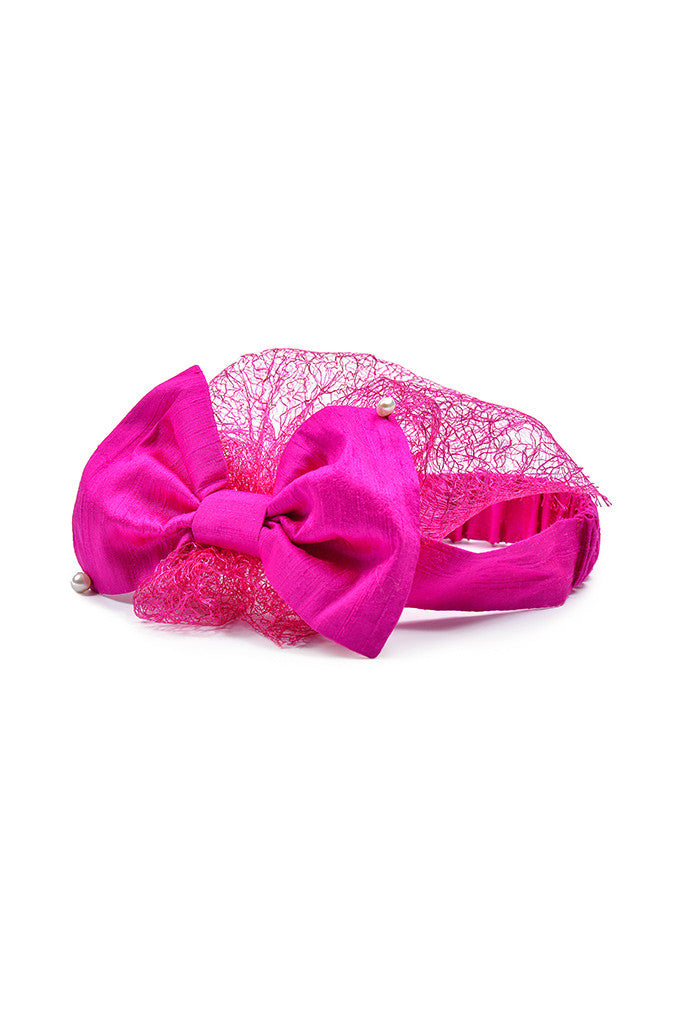 Fuchsia Raw Silk Bow Headwrap with Lace Voile and Real Pearls - LAZY FRANCIS - Shop in store at 406 Kings Road, Chelsea, London or shop online at www.lazyfrancis.com