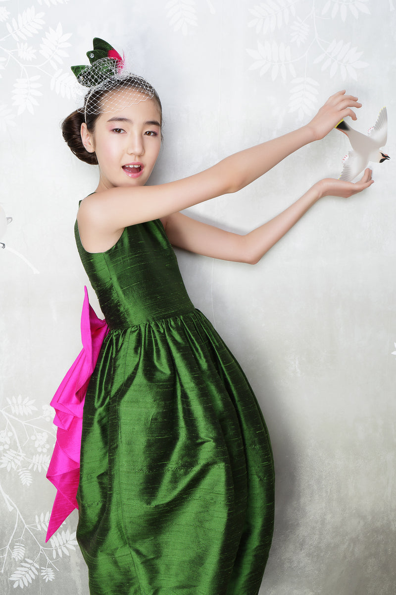 Melody Maxi Couture Girls Dress in Emerald Green & Fuchsia Silk - LAZY FRANCIS - Shop in store at 406 Kings Road, Chelsea, London or shop online at www.lazyfrancis.com