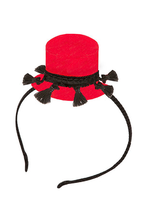 Red Hat Headband with Black Tassels - LAZY FRANCIS - Shop in store at 406 Kings Road, Chelsea, London or shop online at www.lazyfrancis.com