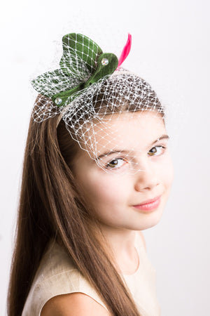 Butterfly Girls Headband in Emerald Green Silk - LAZY FRANCIS - Shop in store at 406 Kings Road, Chelsea, London or shop online at www.lazyfrancis.com