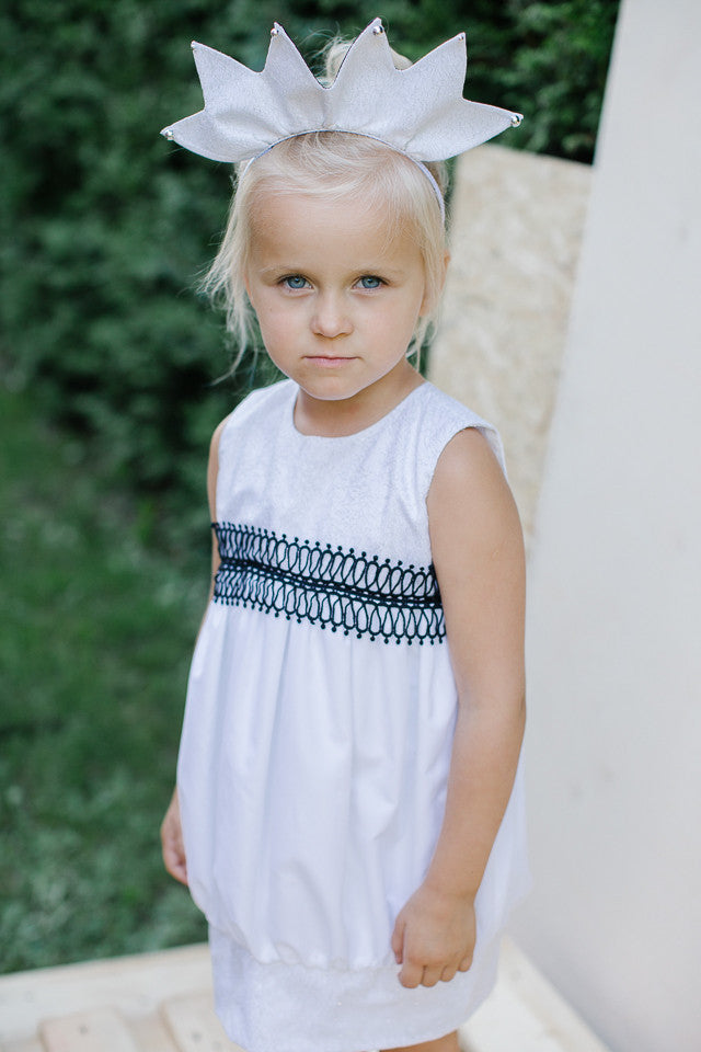 Cute White Puff Dress with Black Lace and Sparkles - LAZY FRANCIS - Shop in store at 406 Kings Road, Chelsea, London or shop online at www.lazyfrancis.com