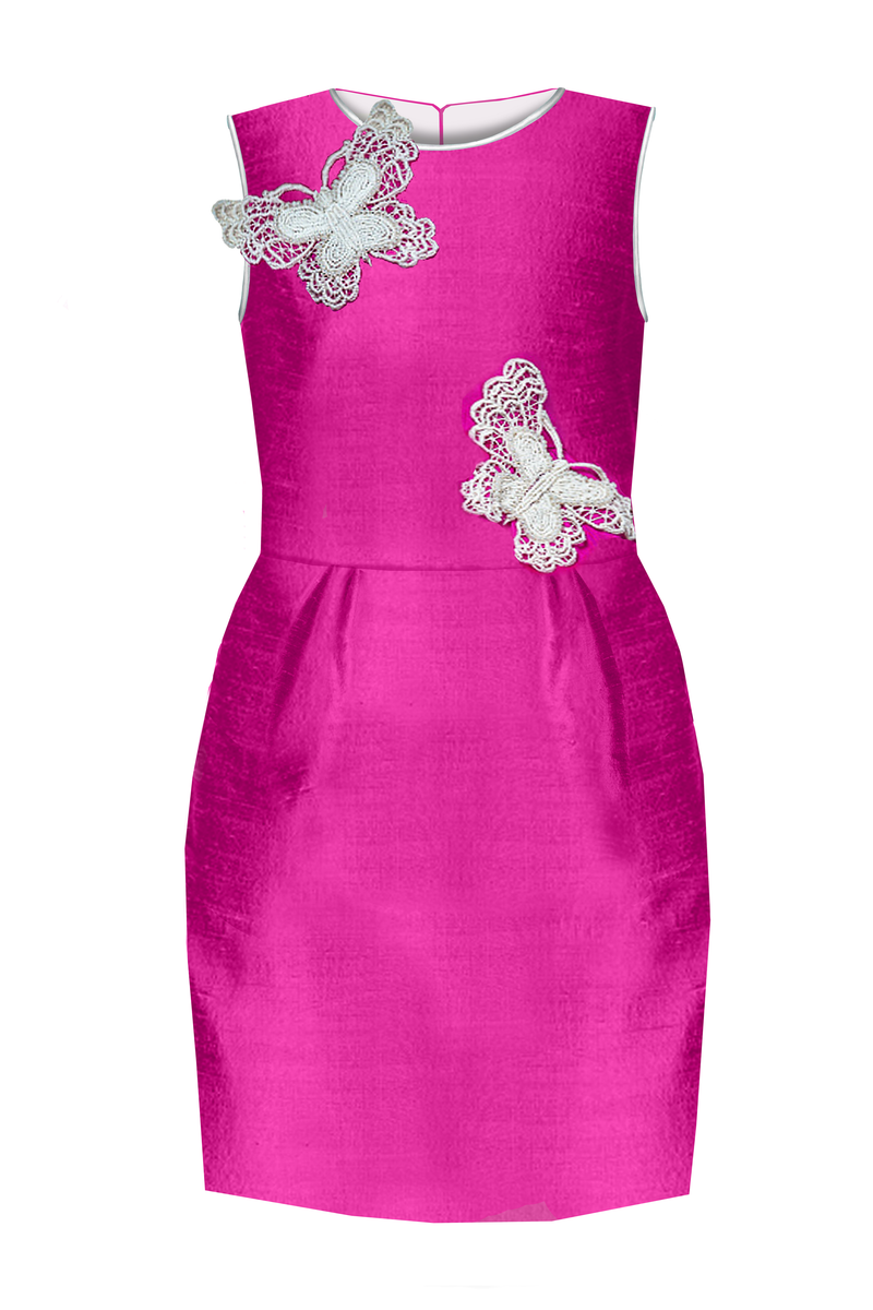 Pearl Butterfly Fuchsia Raw Silk Girls Pencil Dress