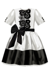 Emma Girls Dress White & Black Taffeta - LAZY FRANCIS - Shop in store at 406 Kings Road, Chelsea, London or shop online at www.lazyfrancis.com