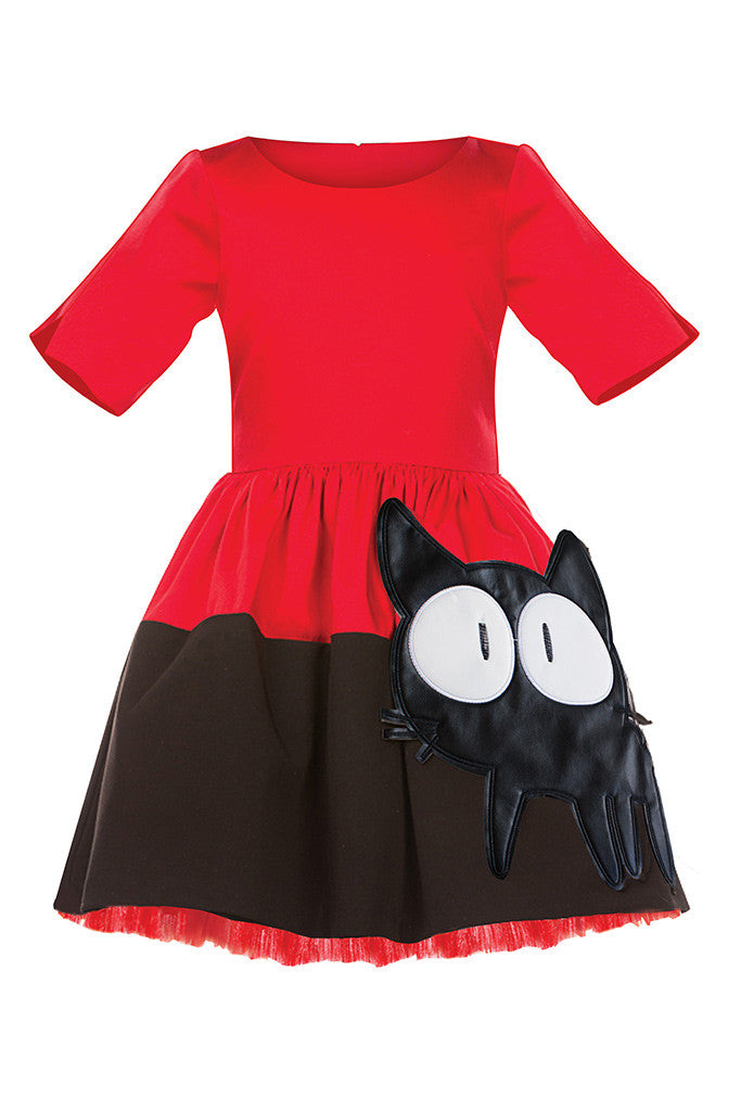 Red & Black Full Girls Dress with Cat Appliqué - LAZY FRANCIS - Shop in store at 406 Kings Road, Chelsea, London or shop online at www.lazyfrancis.com