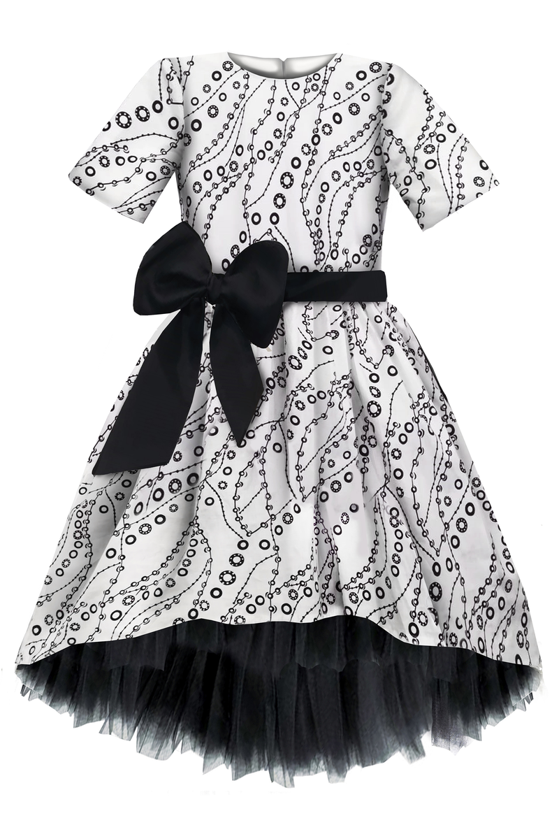 LIMITED EDITION! Paris Light Viscose High-Low Girls Dress With Black Tulle Petticoat - LAZY FRANCIS - Shop in store at 406 Kings Road, Chelsea, London or shop online at www.lazyfrancis.com