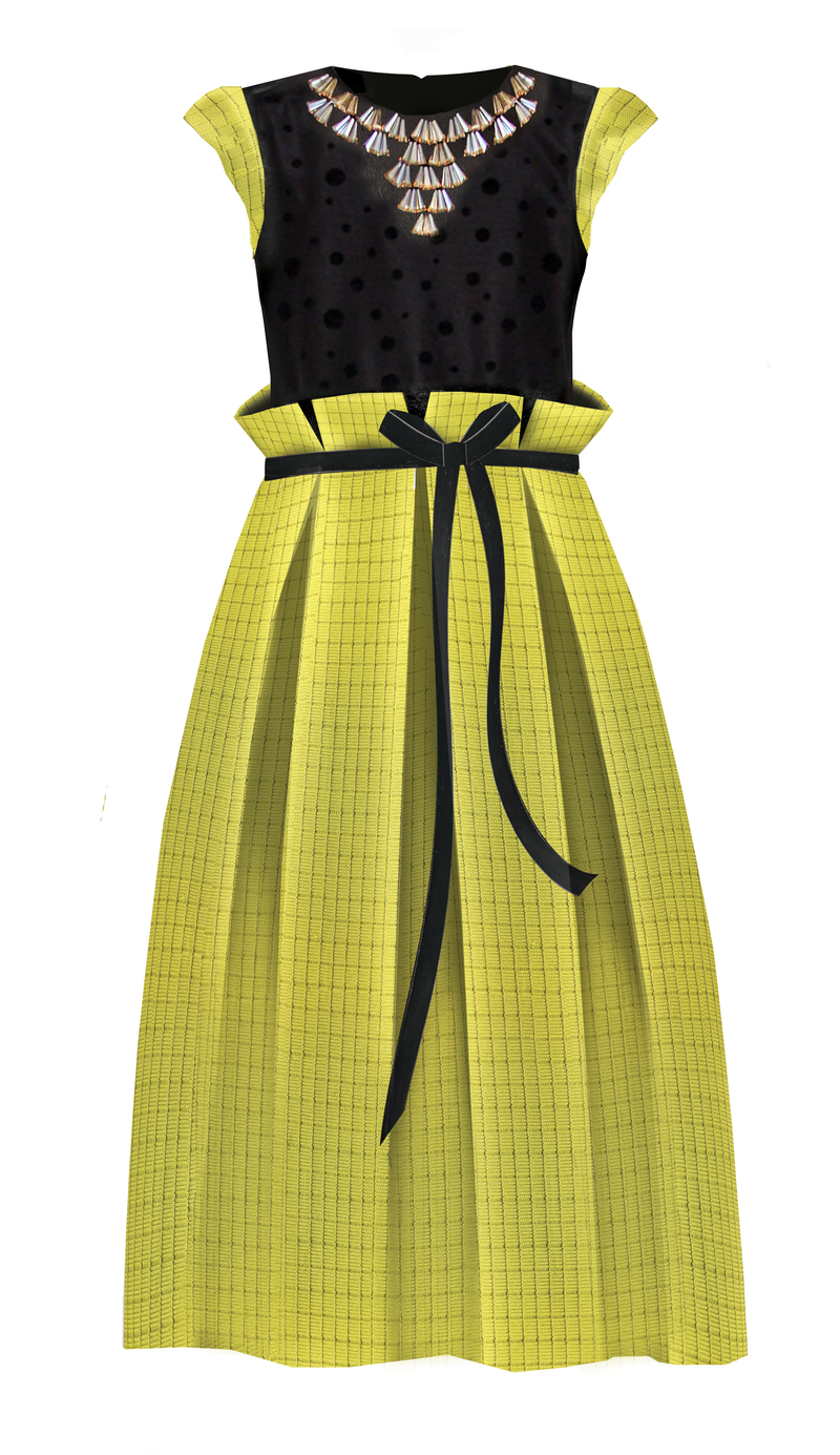 Neoprene Maxi Girls Dress with Gem Stone Necklace in Yellow Green