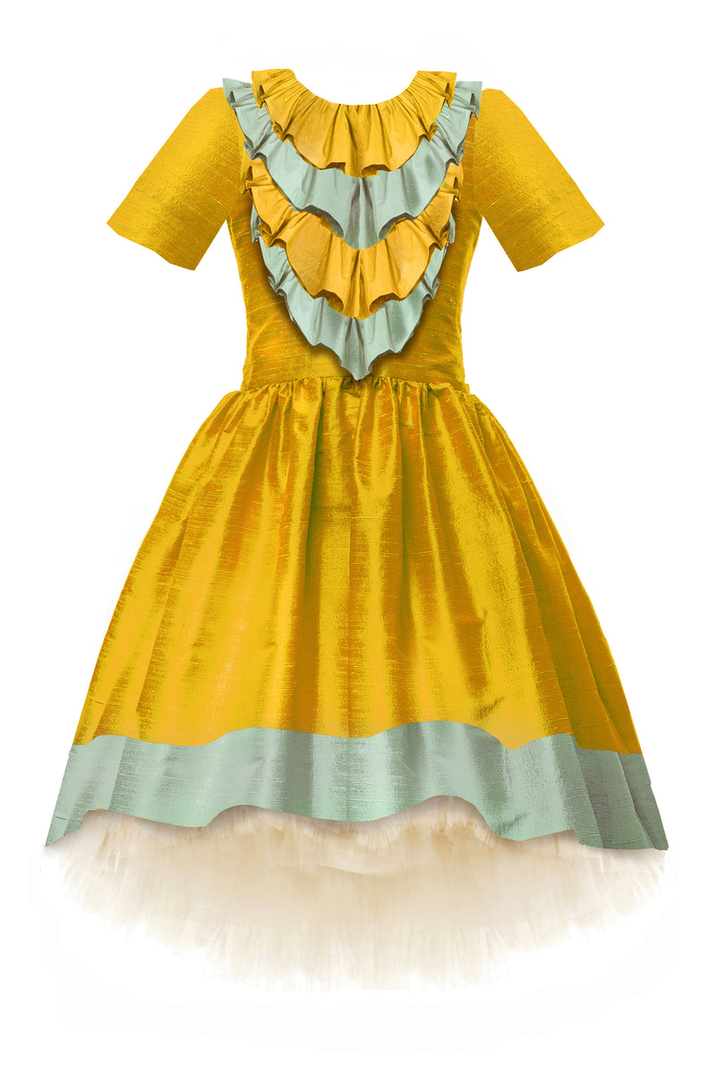 Belle Raw Silk High-Low Girls Dress in Gold & Aquamarine - LAZY FRANCIS - Shop in store at 406 Kings Road, Chelsea, London or shop online at www.lazyfrancis.com