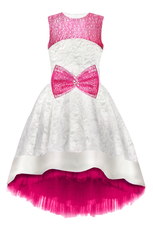 White Flower Motif Jacquard High-Low Dress with Fuchsia Lace Bow - LAZY FRANCIS - Shop in store at 406 Kings Road, Chelsea, London or shop online at www.lazyfrancis.com