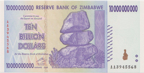 10 Billion Dollar Zimbabwe Banknote