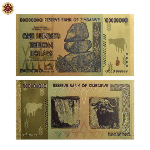 WR Zimbabwe 100 Trillion Dollars Banknote Color Gold Bill World Money Collection