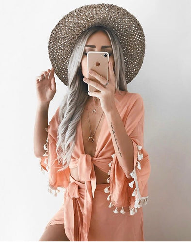 Sand Temple Wrap Top