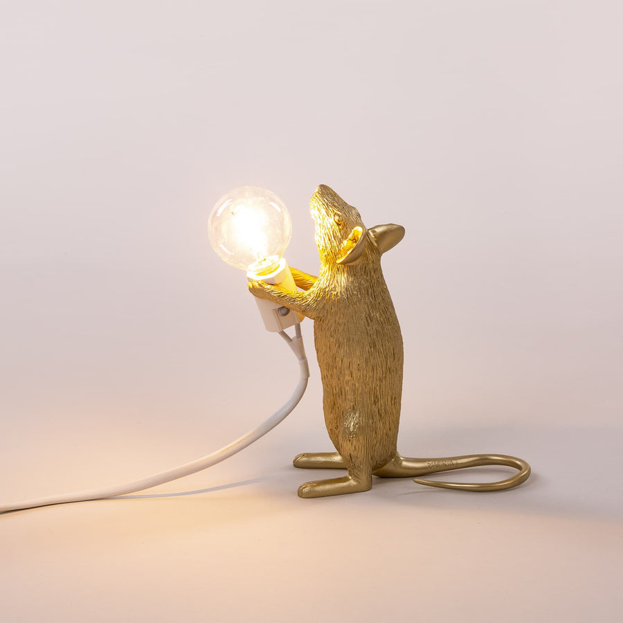 seletti mouse lamp gold standing