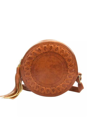 Round Bag with Tassel In Brown