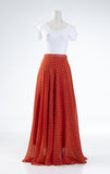 Celine Long Flared Skirt In Tangerine With White Dots