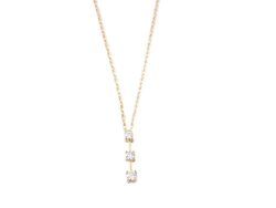 Gold 3 stone diamond pendant necklace