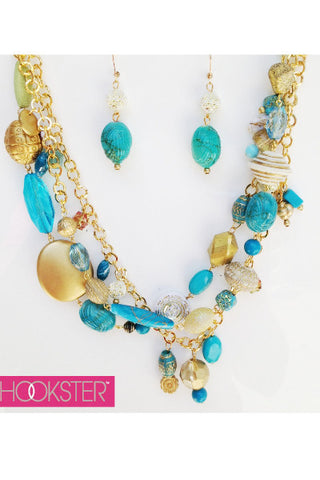 Barbados 3 Strand Beaded Hookster™  Necklace
