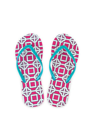 All For Color Pink Charmer Beach Flip Flops