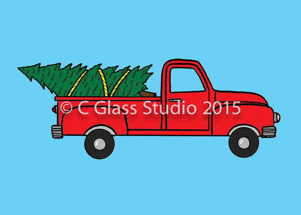Taking Home the Tree in the truck —The C Glass Studio