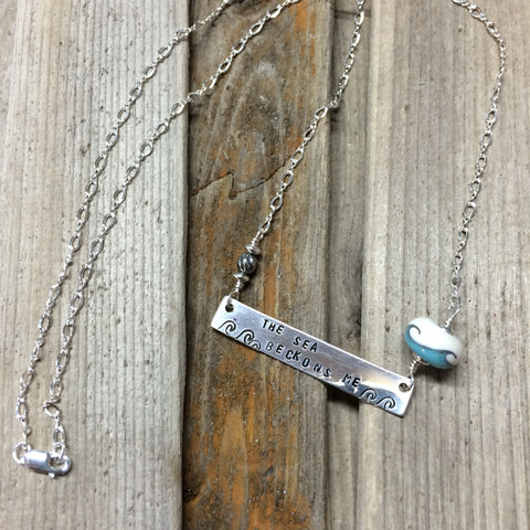 The Sea Beckons Me Sterling Bar Necklace —The C Glass Studio