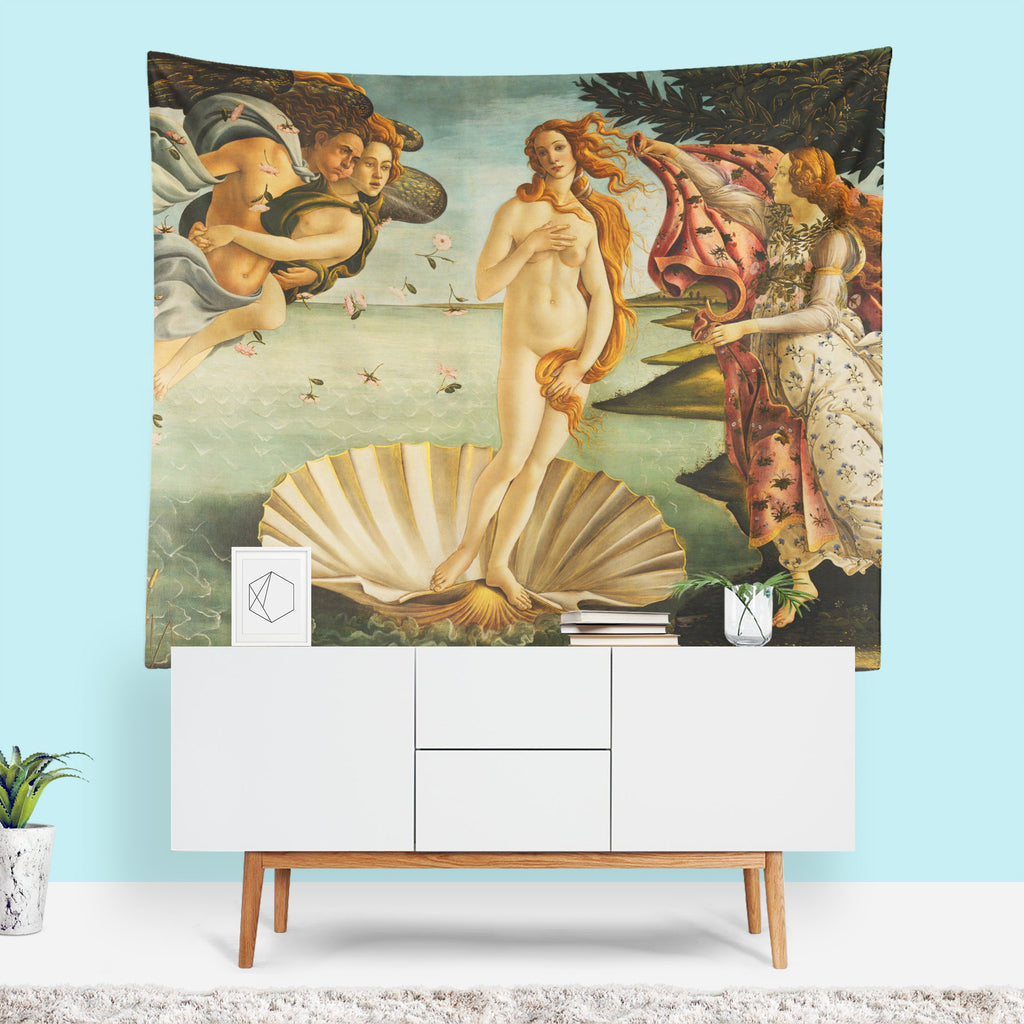 Classic Art Tapestry, Renaissance, Nautical Home Decor, Italian Art, Birth of Venus, Beach Theme Decor, Mermaid Wall Art, Venus, Famous Art