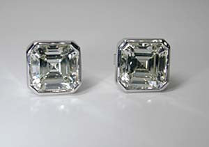 2.02ct Asscher Cut Diamond studs Earrings EGL Certified  18kt white Gold JEWELFORME BLUE