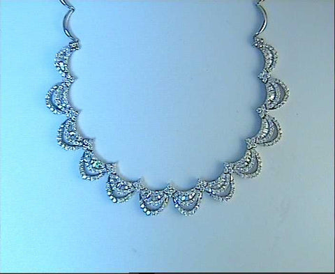 10.76ct Diamond Necklace WaterFall 18kt white gold JEWELFORME BLUE