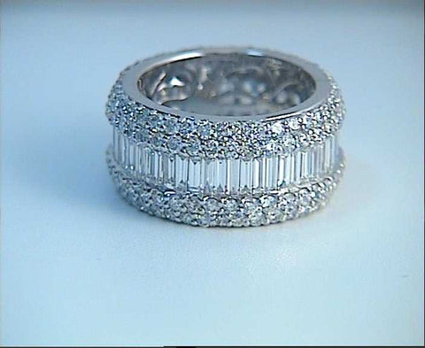 7.85ct Baguettes and Round Diamonds Eternity Wedding Ring JEWELFORME BLUE