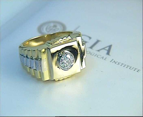 0.50ct Mens Rolex Diamond Ring 18kt Yellow & White Gold JEWELFORME BLUE GIA certified