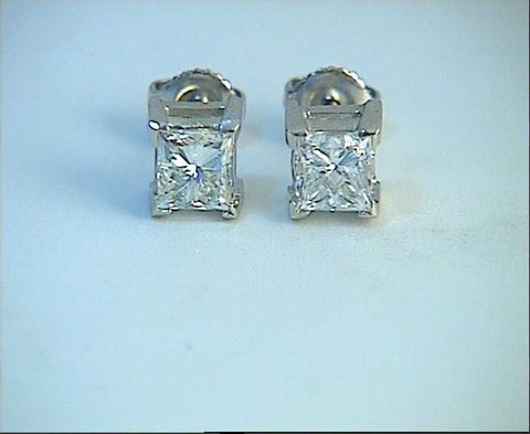 1.50ct Princess Diamond Earrings studs 18kt white Gold JEWELFORME BLUE 900,000 GIA EGL certified diamonds
