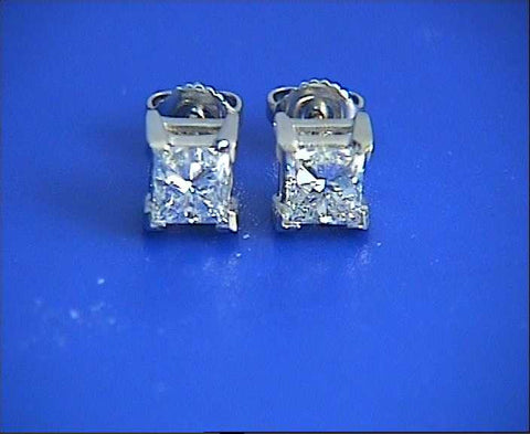 1.32ct Princess Diamond Earrings studs 18kt white Gold JEWELFORME BLUE 900,000 GIA EGL certified diamonds
