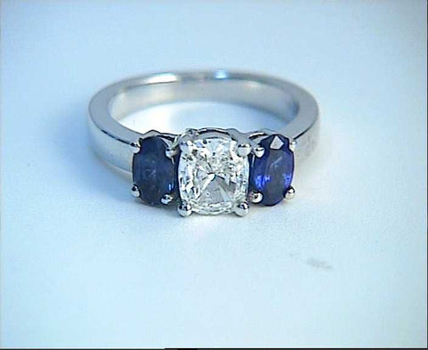 2.52ct Cushion Cut Diamond and Sapphire Engagement Ring JEWELFORME BLUE