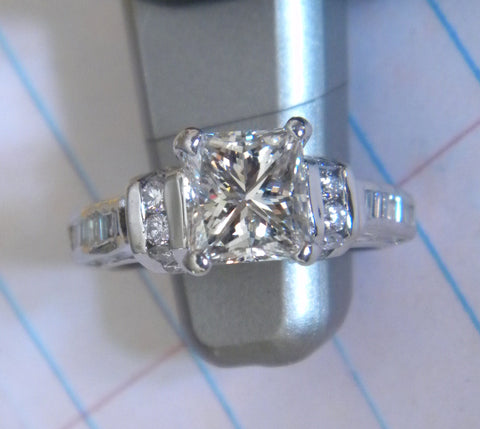 2.91ct Princess Cut Diamond Engagement Ring 18kt White JEWELFORME BLUE