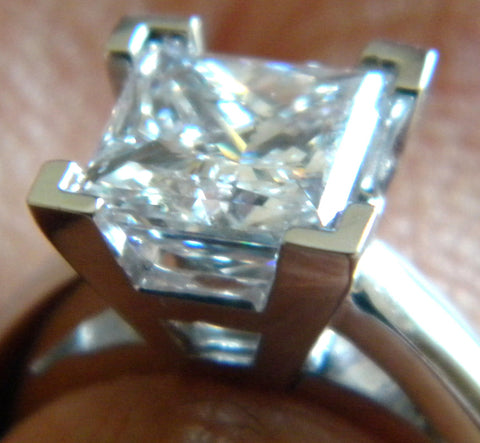 GIA certified 1.70ct I VS1 Princess cut Diamond Engagement ring 18kt JEWELFORME BLUE