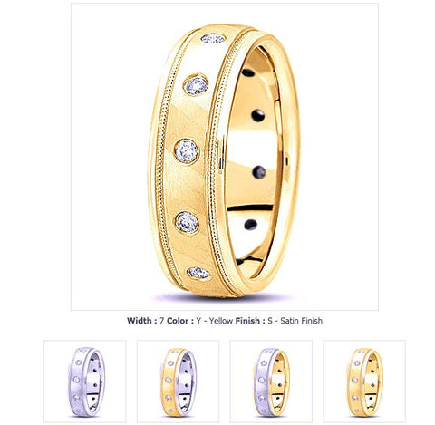 0.36ct Round Diamond Men's Wedding Ring 14kt White yellow  Gold JEWELFORME BLUE WB1130