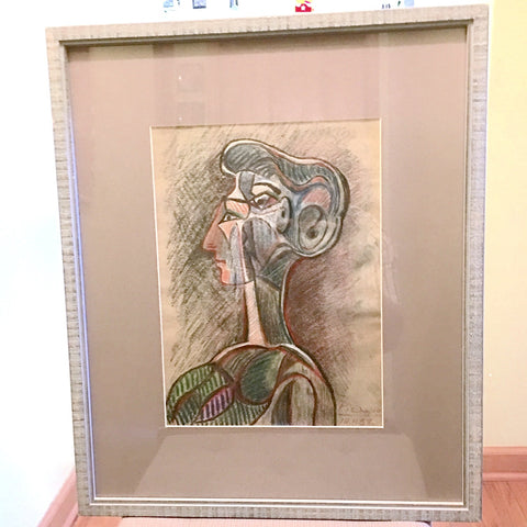"Picasso ""Grand Profile"" 1958 Pastel on Paper 2.6 Mil JEWELFORME BLUE Original Painting"