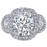 5.68ct Cushion Diamond & Half Moon Diamonds Engagement ring JEWELFORME BLUE GIA certified