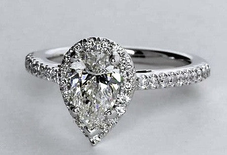 1.12ct J-VS1 Pear Shape Diamond Engagement Ring GIA certified 18kt JEWELFORME BLUE