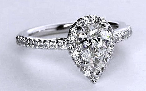 1.22ct D-VVS2 Pear Shape Diamond Engagement Ring GIA certified Platinum Halo JEWELFORME BLUE