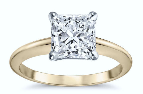 0.90ct G-SI1 Princess cut Diamond Engagement ring 18kt Yellow Gold  JEWELFORME BLUE GIA certified