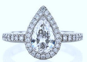 1.11ct H-SI1 Pear Shape Diamond Engagement Ring GIA certified JEWELFORME BLUE