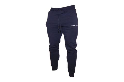 Men's Track Style Joggers: Navy Blue (with White stripes)
