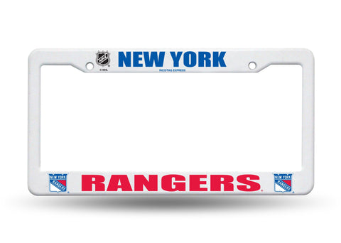 New York Rangers White Plastic License Plate Frame NEW Free Shipping!