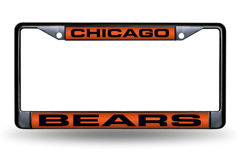 Chicago Bears Black Laser Cut Metal License Plate Cover Frame NEW!!