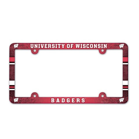 Wisconsin Badgers Full Color License Plate Cover Plastic