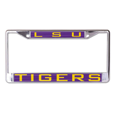 LSU Tigers Silver Laser Cut Metal License Plate Cover Frame NEW Wincraft