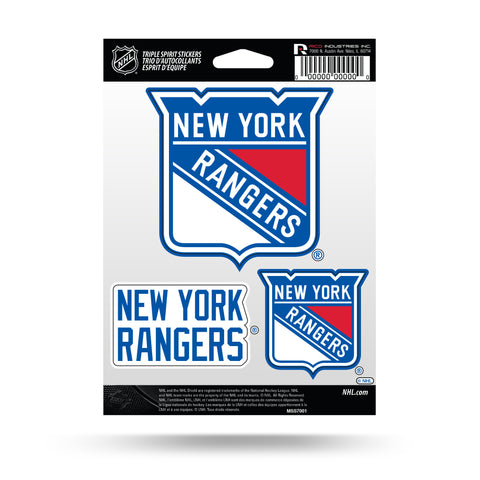 New York Rangers Set of 3 Decals Stickers Triple Spirit Die Cut
