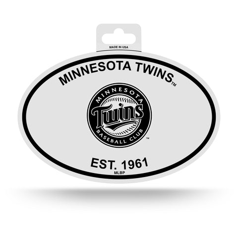 Minnesota Twins Oval Decal Sticker NEW!! 3 x 5 Inches Free Shipping Black & White