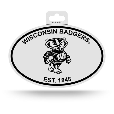 Wisconsin Badgers Oval Decal Sticker NEW!! 3 x 5 Inches Free Shipping Black & White